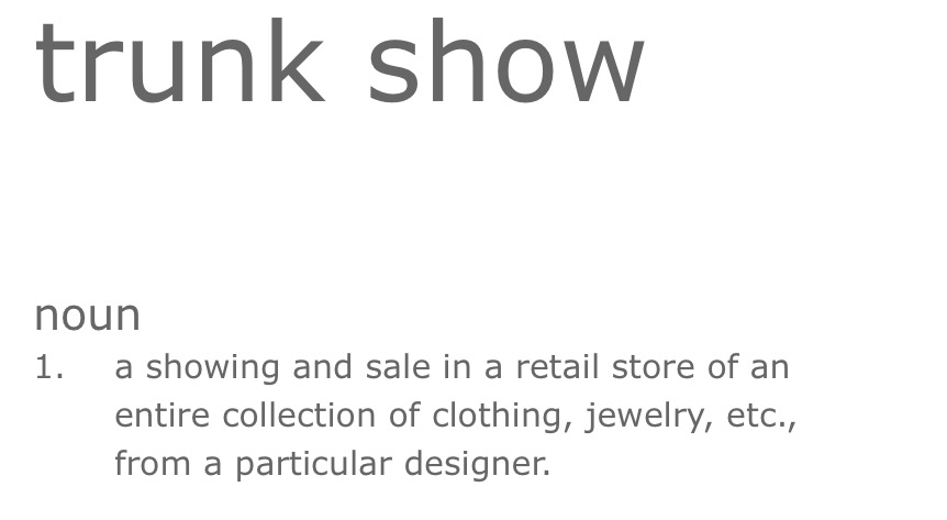 Bella's Guide to Trunk Shows. Desktop Image